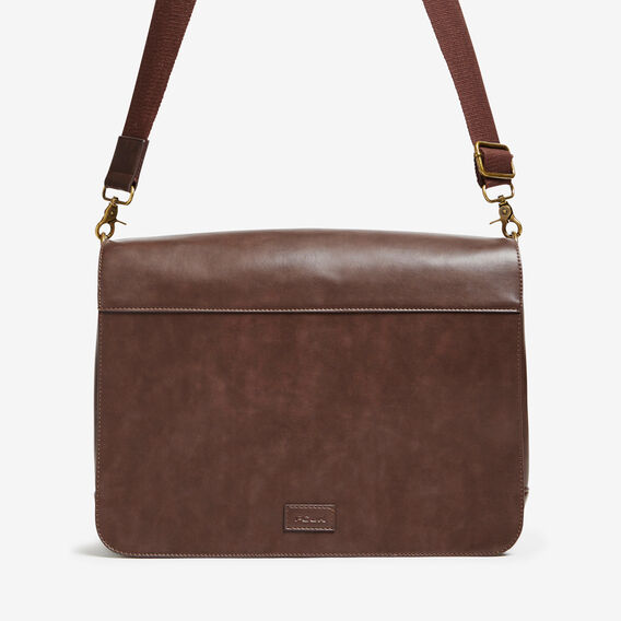 EXPLORER LEATHER LOOK MESSENGER  CHOCOLATE  hi-res