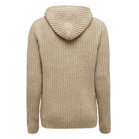 CHUNKY KNIT WITH JERSEY LINED HOOD  OATMEAL  hi-res