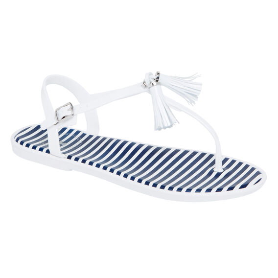 TASSEL T BAR SANDAL  WHITE  hi-res