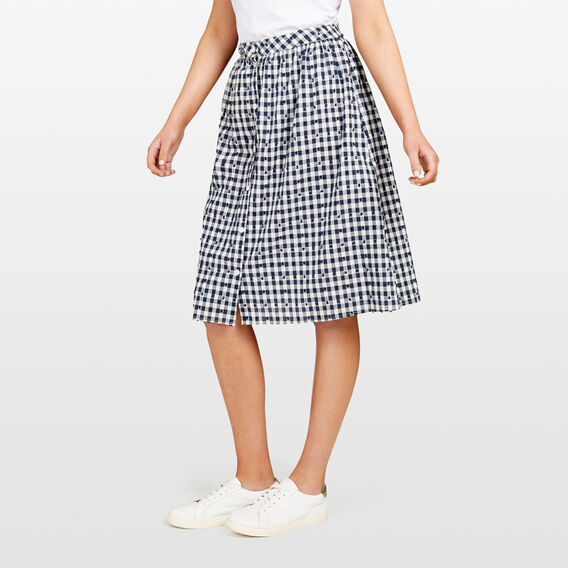BUTTON THROUGH GINGHAM MIDI SKIRT  SUMMER WHITE/NOCTURN  hi-res