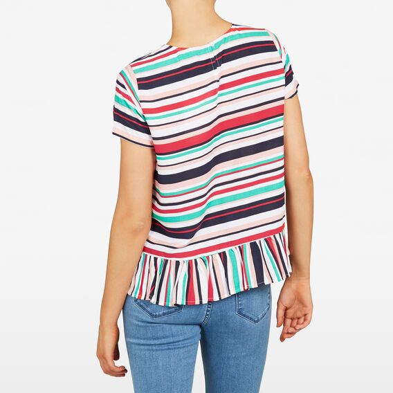 STRIPE PEPLUM TEE  MULTI  hi-res