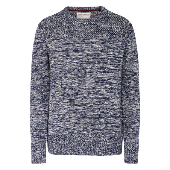 CHUNKY CREW NECK KNIT  INDIA INK/CUBA WHITE  hi-res