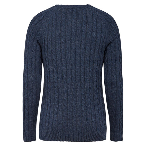 CABLE WOOL BLEND CREW NECK KNIT  YALE BLUE  hi-res