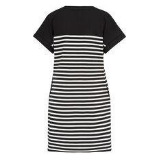 SAHARA STRIPE T-SHIRT DRESS  BLACK/SUMMER WHITE S  hi-res