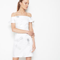 FOIL PINEAPPLE DRESS  SUMMER WHITE/SILVER  hi-res