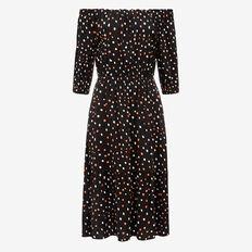 IRREGULAR SPOT OFF SHOULDER DRESS  BLACK/WHITE/PAW PAW  hi-res