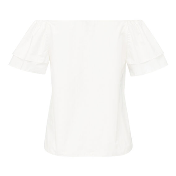 OFF SHOULDER RUFFLE SLV TOP  WHITE  hi-res
