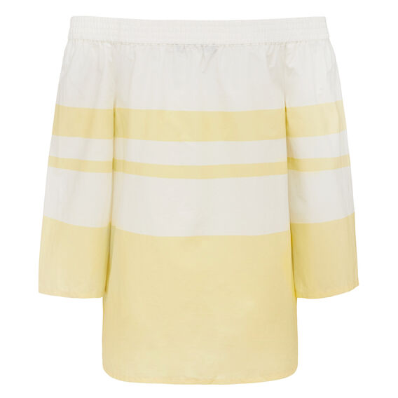 BLOCK STRIPE OFF SHOULDER  SUMMER WHITE/LEMON  hi-res