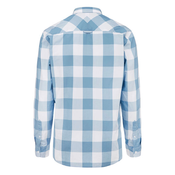 TRAVEL CHECK REGULAR FIT SHIRT  AQUA BLUE  hi-res