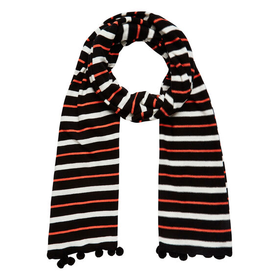 POM POM STRIPE SCARF  BLACK MULTI  hi-res