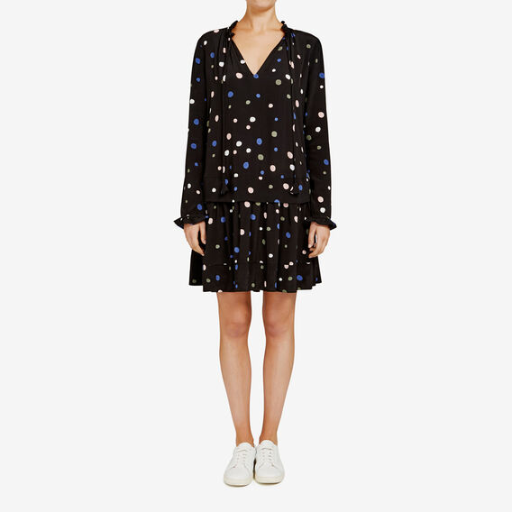 FALLING SPOT PRINTED SWING DRESS  BLACK MULTI  hi-res