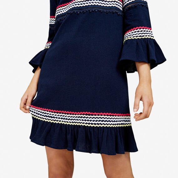 LATTUS TRIM BABYDOLL DRESS  NAVY/MULTI  hi-res