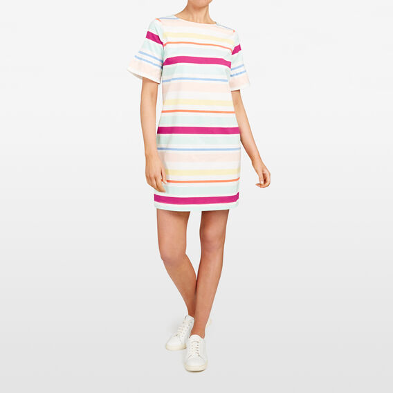 STRIPE RUFFLE SLEEVE DRESS  MULTI  hi-res