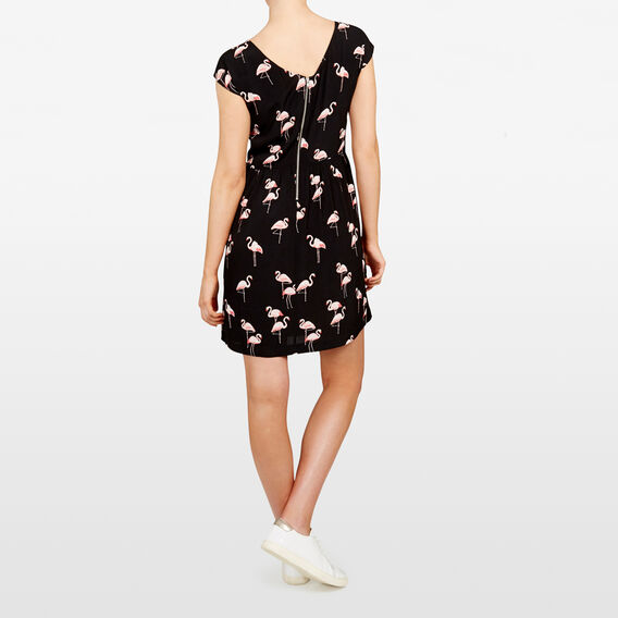 FLAMINGO PRINTED TEA DRESS  BLACK/PINKS  hi-res