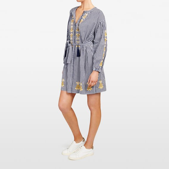 EMBROIDERED PINEAPPLE GINGHAM DRESS  SUM WHITE/NOCT/TUMER  hi-res