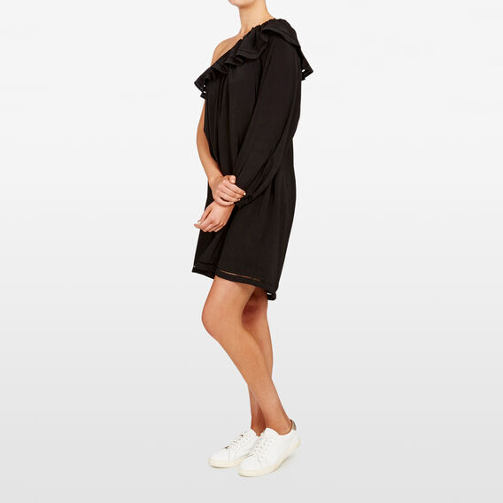 ONE SHOULDER FRILL DRESS  BLACK  hi-res