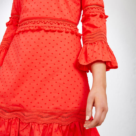 BELL SLEEVE DOBBY DRESS  PAPRIKA  hi-res