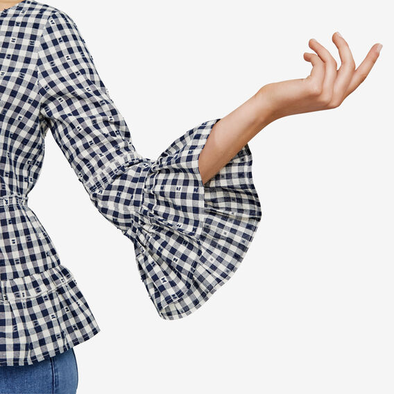 GINGHAM PEASANT BLOUSE  SUMMER WHITE/NOCTURN  hi-res