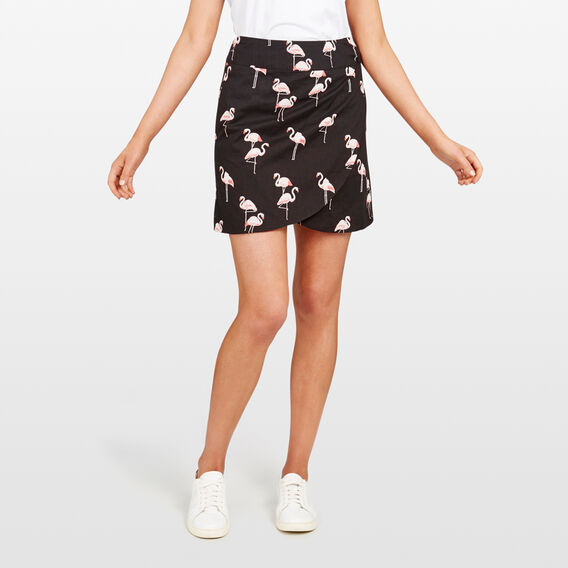 FLAMINGO PRINTED SKIRT  BLACK/PINKS  hi-res