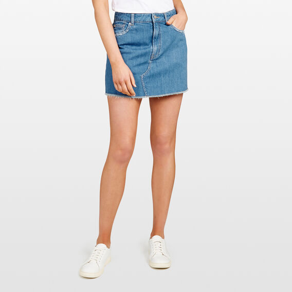 DENIM MINI SKIRT  STONE WASH  hi-res