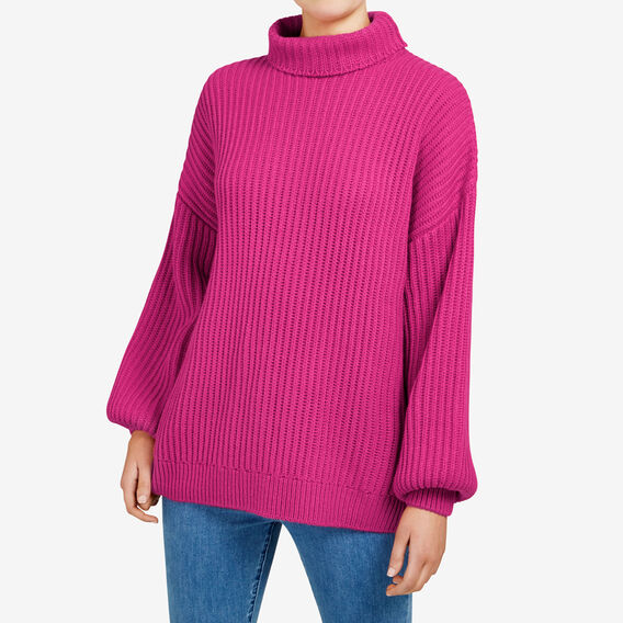 BILLOWING BELL SLEEVE KNIT  FUCHSIA  hi-res