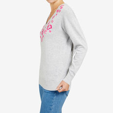 EMBELLISHED NECK KNIT  GREY MARLE/FUCHSIA  hi-res