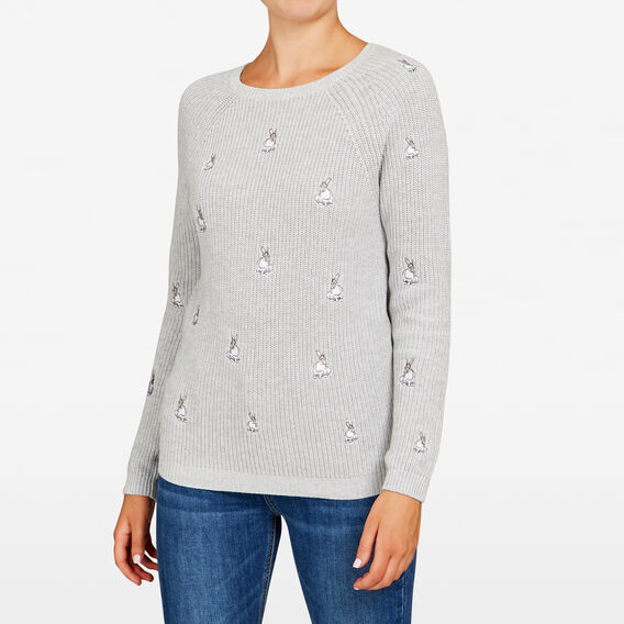 BUNNY EMBROIDERED KNIT  GREY MARLE/SUMMER WH  hi-res