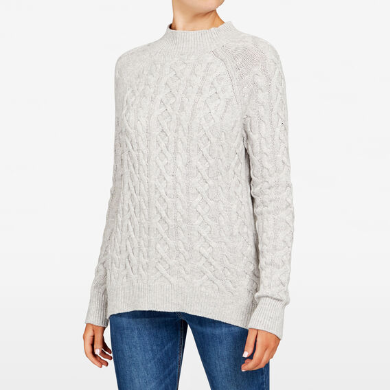 CABLE ROLL NECK KNIT  GREY MARLE  hi-res