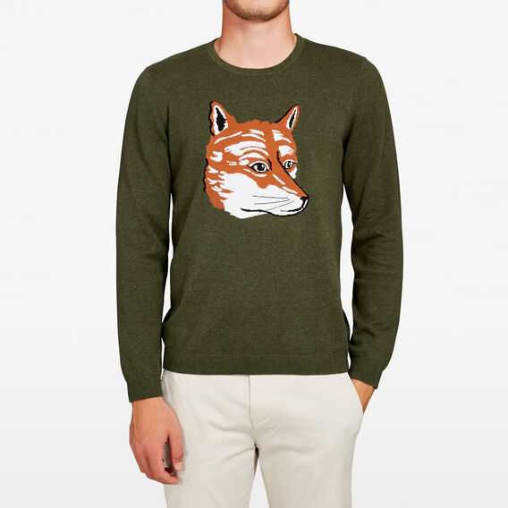 FOX INTARSIA KNIT  OLIVE  hi-res