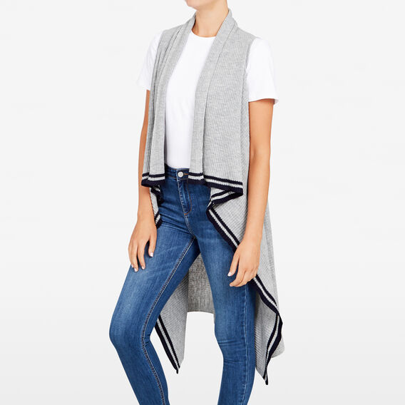 LIGHTWEIGHT STRIPE PONCHO  GREY MARLE  hi-res