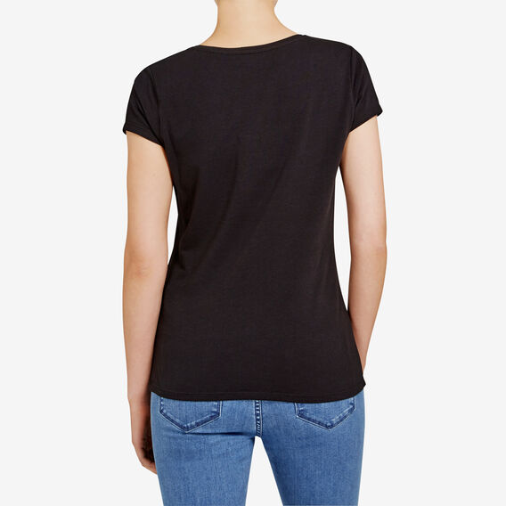 HAYLEY STRETCH SCOOP NECK TEE  BLACK  hi-res