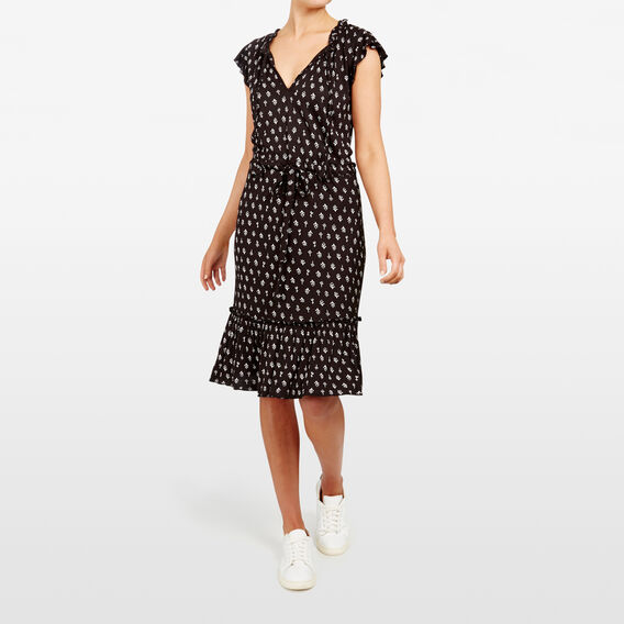 PRINTED FRILL SLEEVE DRESS  BLACK/SUMMER WHITE  hi-res