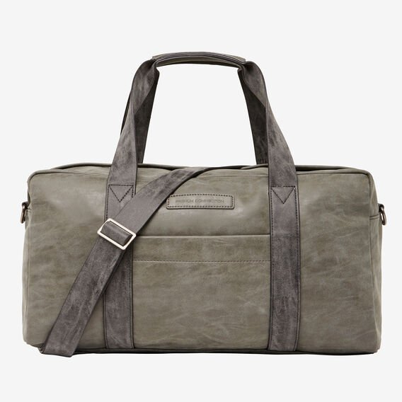LEATHER LOOK DUFFLE BAG  VINTAGE GREY  hi-res