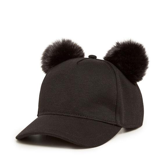 DOUBLE POM POM CAP  BLACK  hi-res