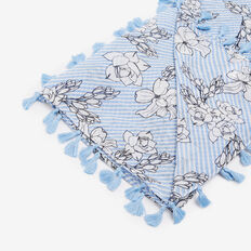FLORAL TASSEL SCARF  LIGHT BLUE/WHITE  hi-res