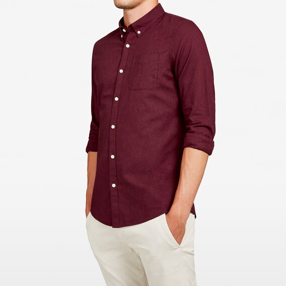 BURGUNDY MELANGE SLIM FIT SHIRT  BURGUNDY  hi-res