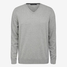 COTTON V-NECK KNIT  GREY MEL  hi-res