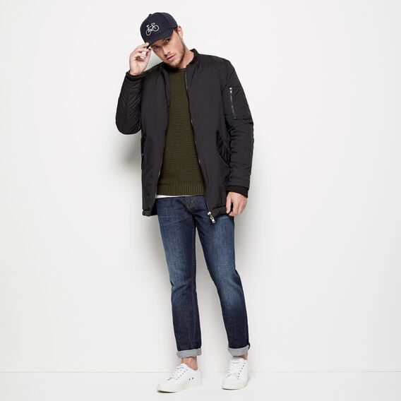 LONGLINE BOMBER JACKET  BLACK  hi-res