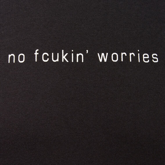 NO FCUKIN WORRIES CREW NECK T-SHIRT  BLACK  hi-res