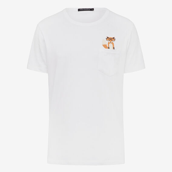FOX POCKET CREW NECK T-SHIRT  WHITE  hi-res