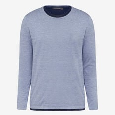 DOUBLE LAYER CREW NECK KNIT  DUST BLUE MELANGE  hi-res