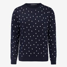 SHADOW SPOT CREW NECK KNIT  NAVY  hi-res