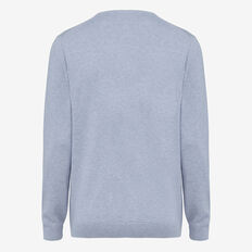 PORTRAIT COTTON V-NECK KNIT  DUST BLUE MELANGE  hi-res