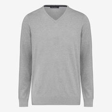 PORTRAIT COTTON V-NECK KNIT  GREY MELANGE  hi-res