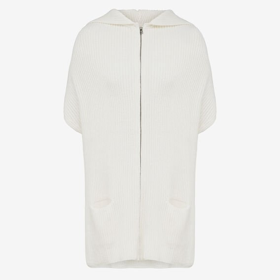 ZIP FRONT RIB KNIT PONCHO  WINTER WHITE  hi-res