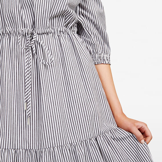 STRIPE OFF SHOULDER DRESS  SUMMER WHITE/BLACK  hi-res