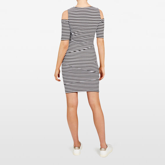 STRIPE BODY CON DRESS  SUMMER WHITE/BLACK  hi-res