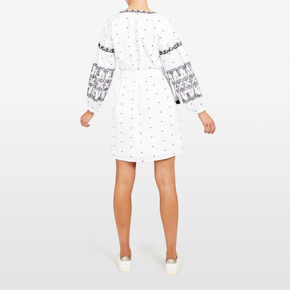 EMBROIDERED AZTEC DRESS  SUMMER WHITE/BLACK  hi-res