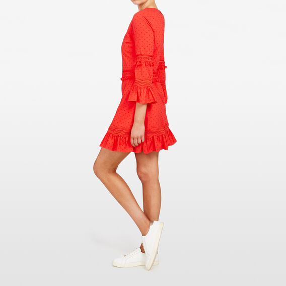 BELL SLEEVE DOBBY DRESS  PAPRIKA  hi-res
