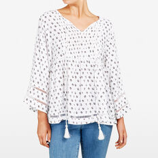 BELL SLEEVE BLOUSE  SUMMER WHITE/BLACK  hi-res